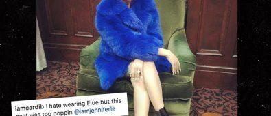 cardi b flue crypts taunt blue coat instagram tmz